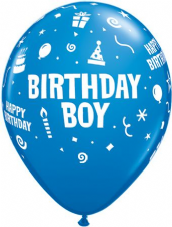 Birthday Boy Blue Balloons 6 Pack